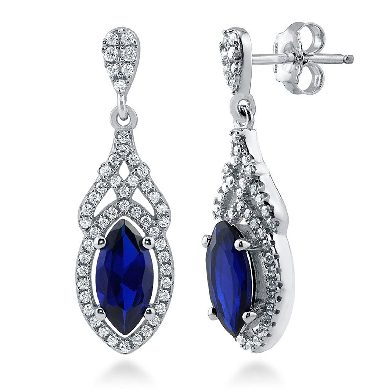 1099bebbb BERRICLE Rhodium Plated Sterling Silver Cubic Zirconia CZ Art Deco Halo  Dangle Drop Earrings *** More info could be found at the image url.