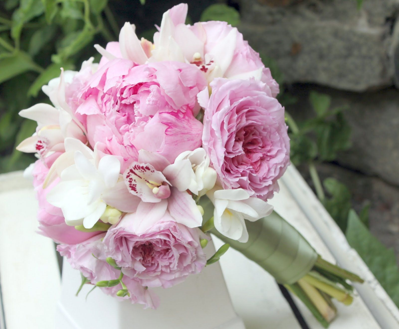 Garden Rose And Peony david austen garden roses, pink peonies, white freesia and mini