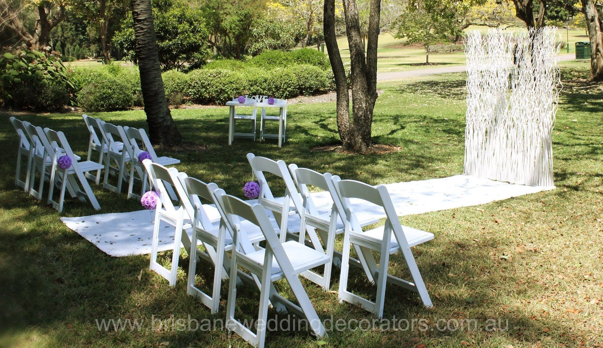 Sweet Romance Brisbane Botanic Gardens Ceremony Set Up By Wedding Decorators