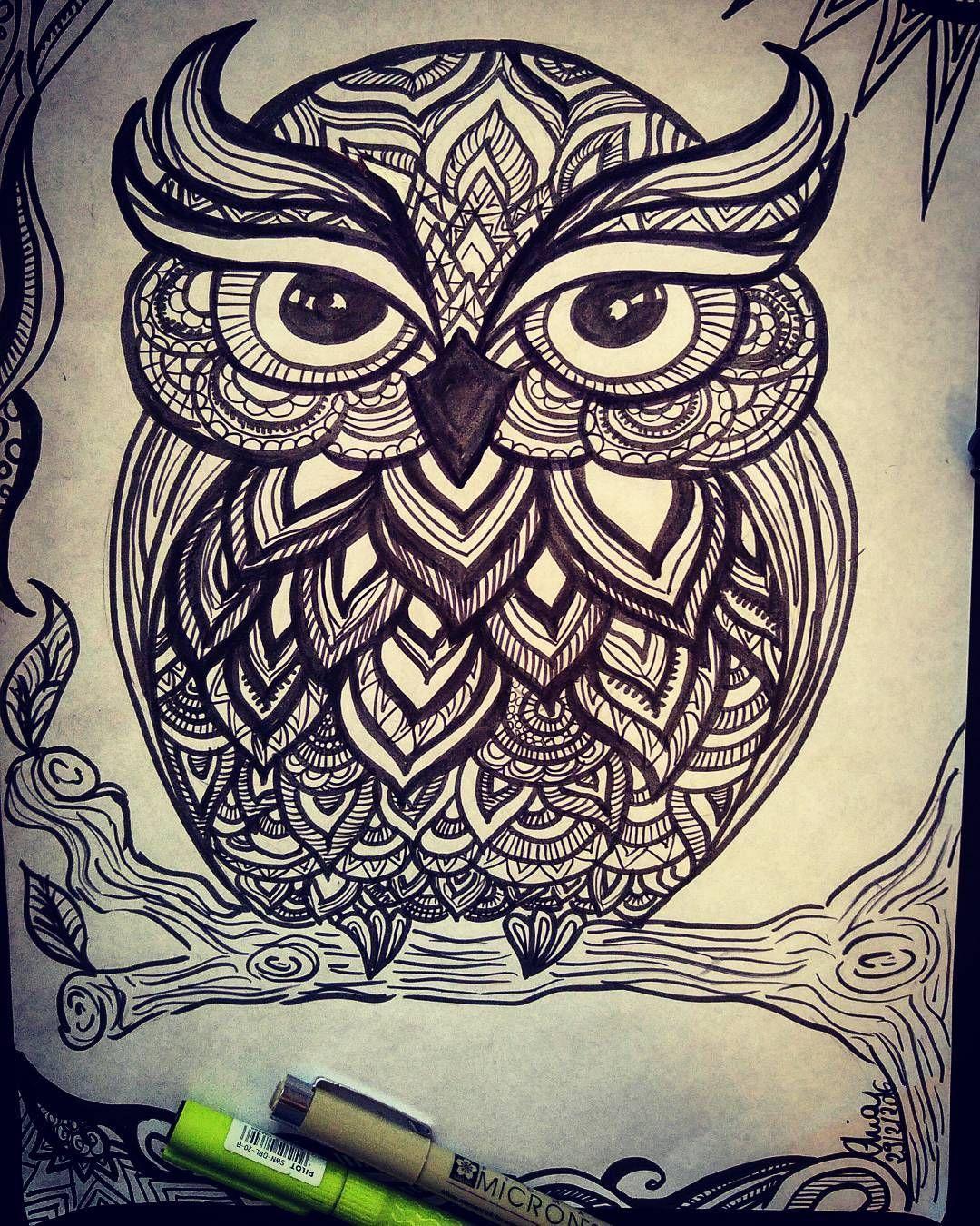 #owlzentangle #owl #doodlesketch #doodle #pen #zentangle #zentagleart #pensketch #sketch #doodle