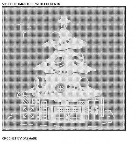 Christmas Tree Presents Filet Crochet Tablecloth Doily Pattern 535