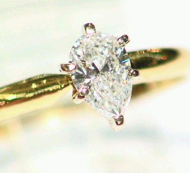 .44CT 14KT GOLD NATURAL WHITE DIAMOND SOLITAIRE ENGAGEMENT PEAR CUT RING ESTATE  #Handmade #Solitaire