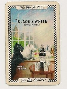 Swap Playing Cards 1 Single Black White Whiskey Dogs Scottie Dog Vintage Dog Scottie