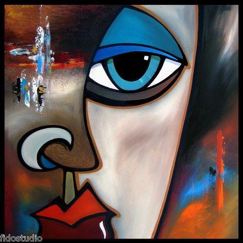 Through the cracks original abstract modern huge face for Original modern art for sale