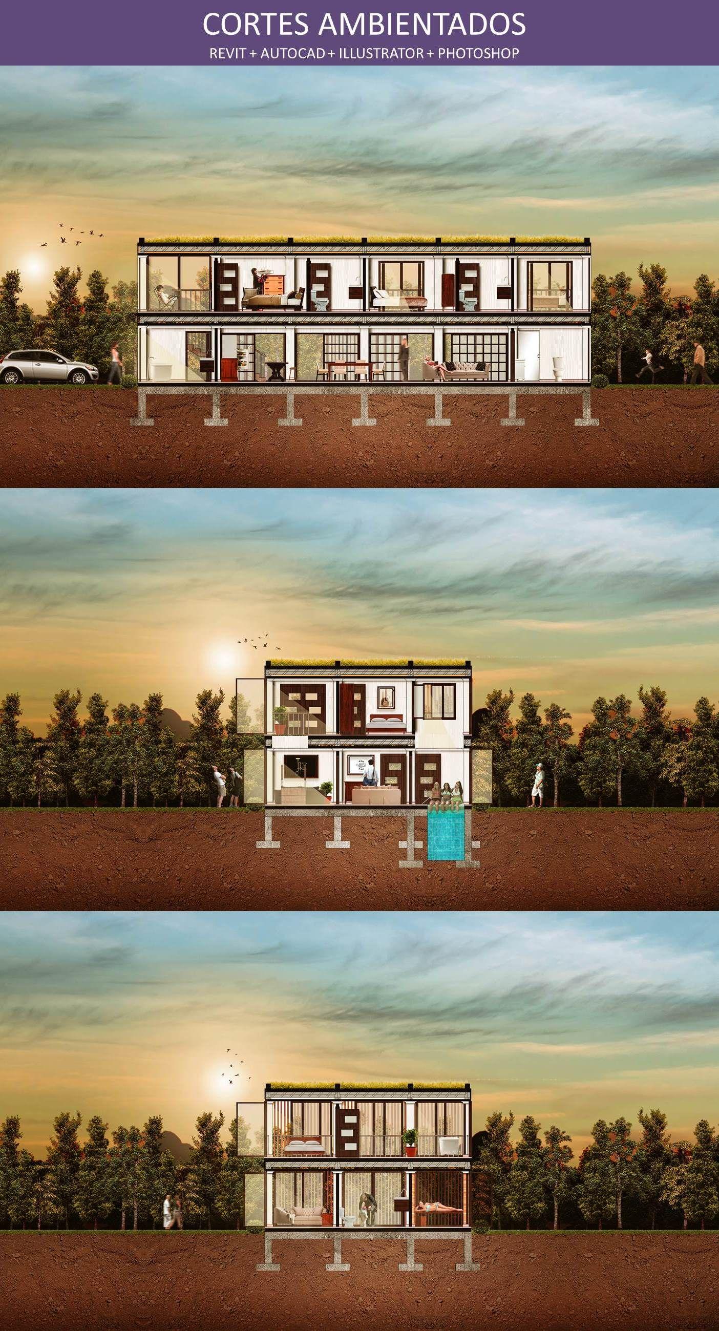 Cortes ambientados planos arquitect nicos revit for Cortes arquitectonicos