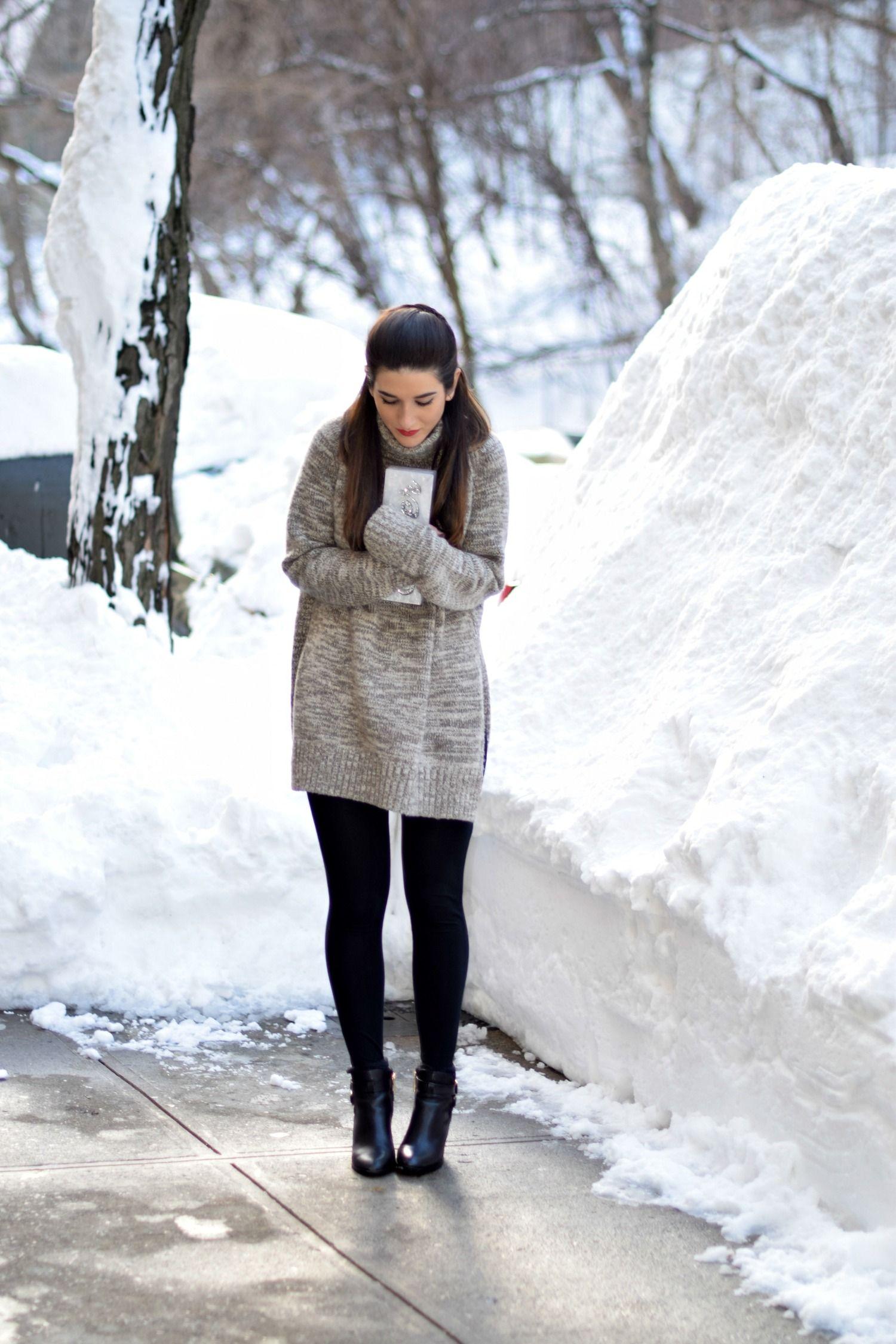 Grey Turtleneck + Leggings // Louboutins & Love Fashion Blog by Esther Santer