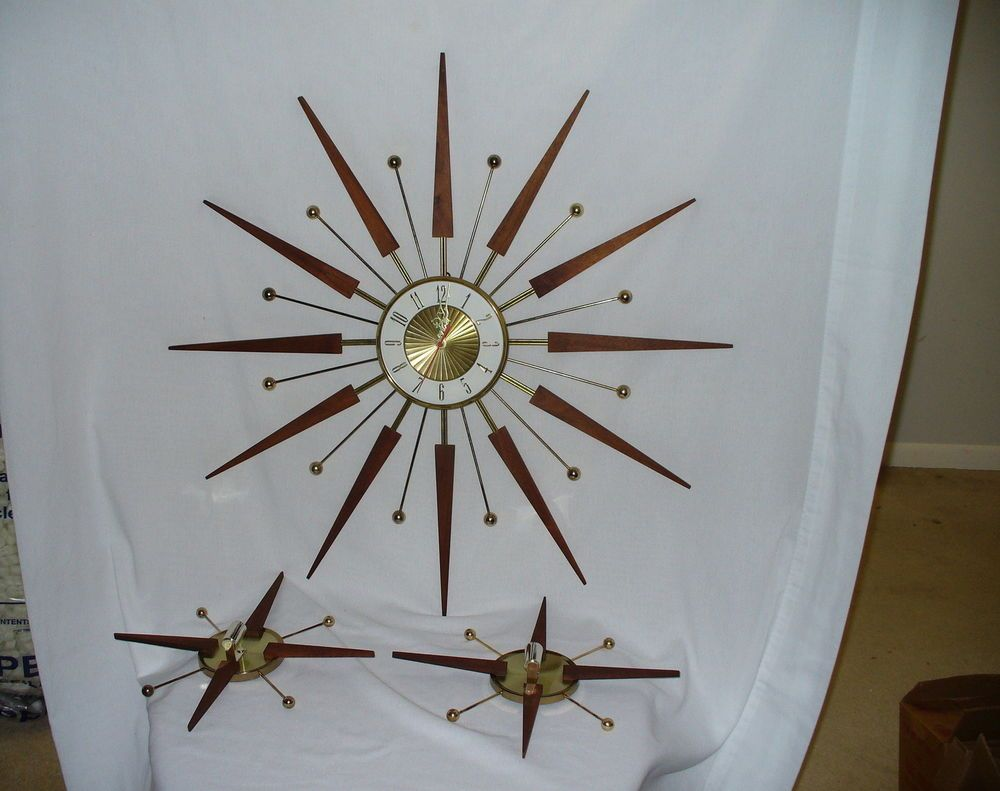 Elgin mid century modern atomic starburst wall clock candle elgin mid century modern atomic starburst wall clock candle holders eames era amipublicfo Images