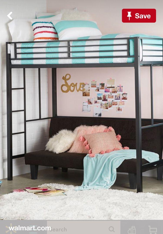 Loft bed boy room ideas  Loft Bed over futon  Good idea for older boys room  Beds I think I