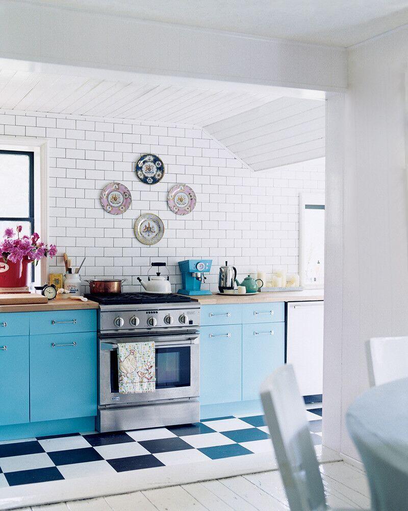 Blue Kitchen Flooring Ideas: Checkerboard Kitchen Floor Ideas, Retro Tile Trend