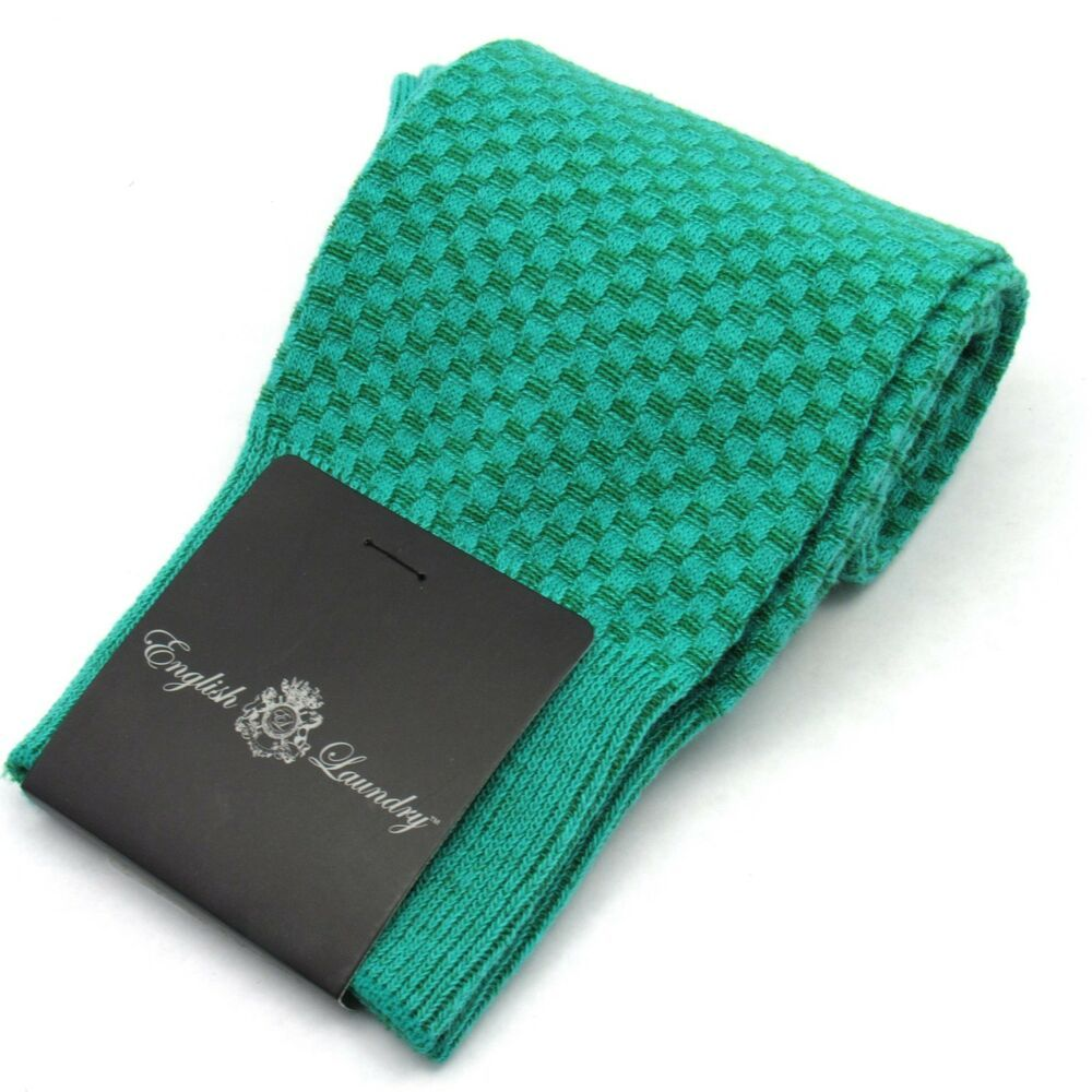 English Laundry Mens Basketweave Textured Dress Socks Emerald