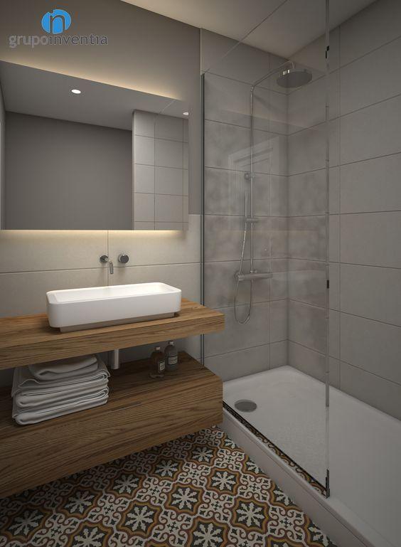 Salle de douche avec carrelage style carreaux de ciment et couleur neutre sur les murs | Idée ...