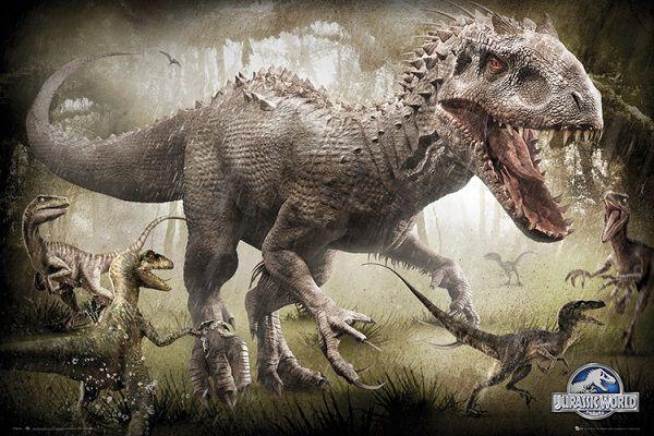 Nuovi poster da jurassic world il t rex e l indominous rex
