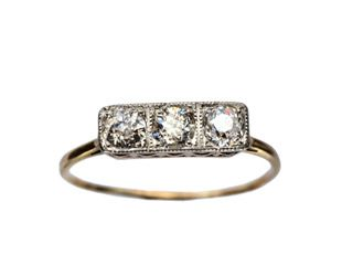 1900-10s Arts and Crafts Three Diamond Ring, 14K, Platinum : Erie Basin Antiques