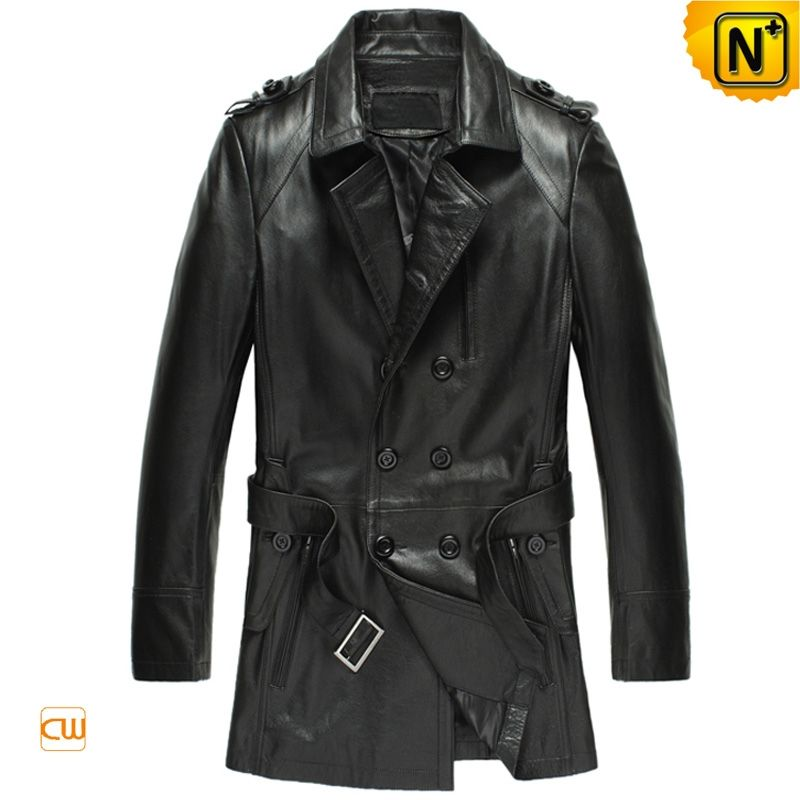 III-Fashions Mens Lambskin Leather Double Breasted Long Length Motorcycle Trench Coat