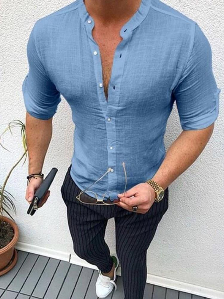 YYG Mens Linen Mandarin Collar Long Sleeve Casual Buttons Long Shirts