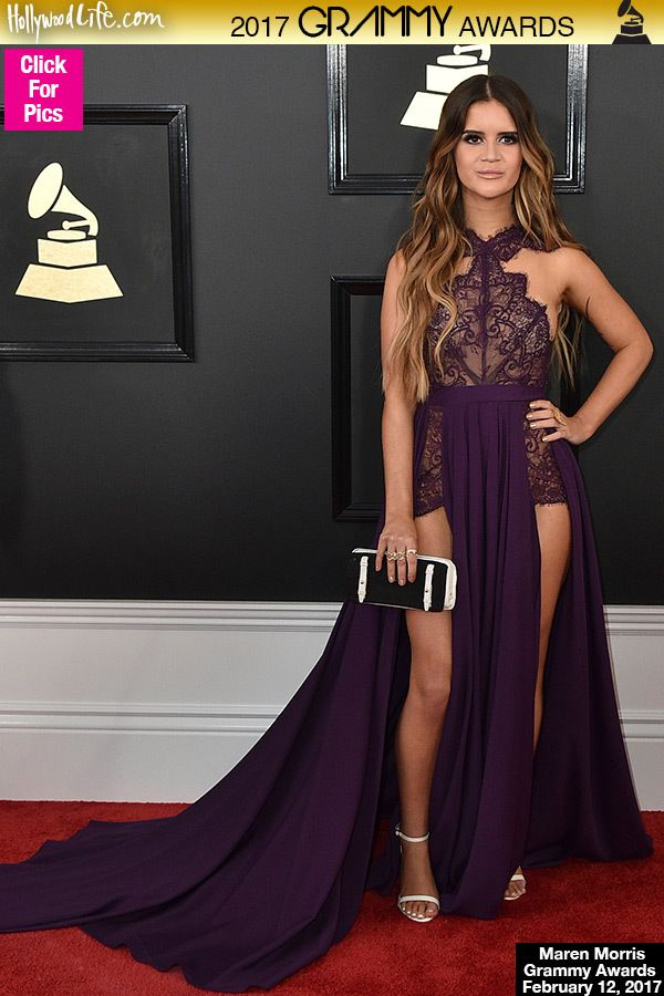 Maren Morris Stuns In Purple As She Makes Her Grammys Red Carpet Debut Pics Grammy Dresses Golden Globes Dresses Grammy Awards