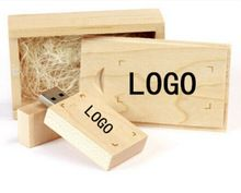 Brand NEW Personalized Wooden usb + wooden box DIY LOGO USB 2.0 Memory flash stick pen drive for computer(China (Mainland))