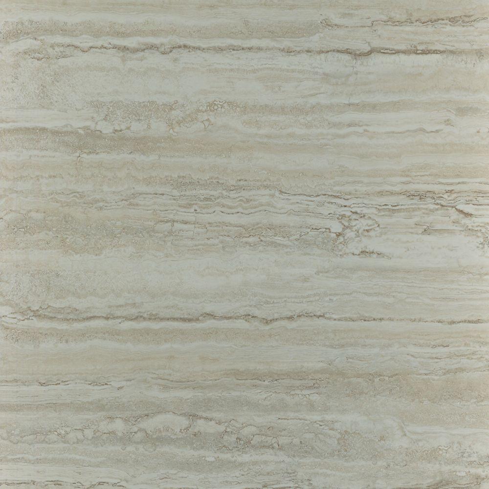 Ceramica 12 in. x 12 in. Roman Travertine Grey Resilient Vinyl Tile ...