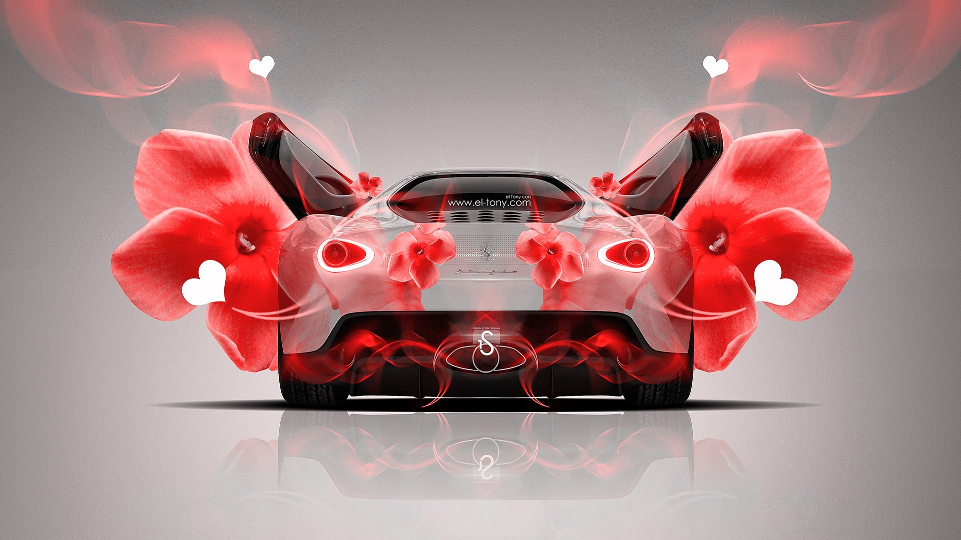 Http://www.el Tony.com/wp Content/uploads/2014/01/Ferrari Sergio Fantasy  Red Heart Flowers Car 2014 HD Wallpapers Design By Tony Kokhan Www.el Tonyu2026