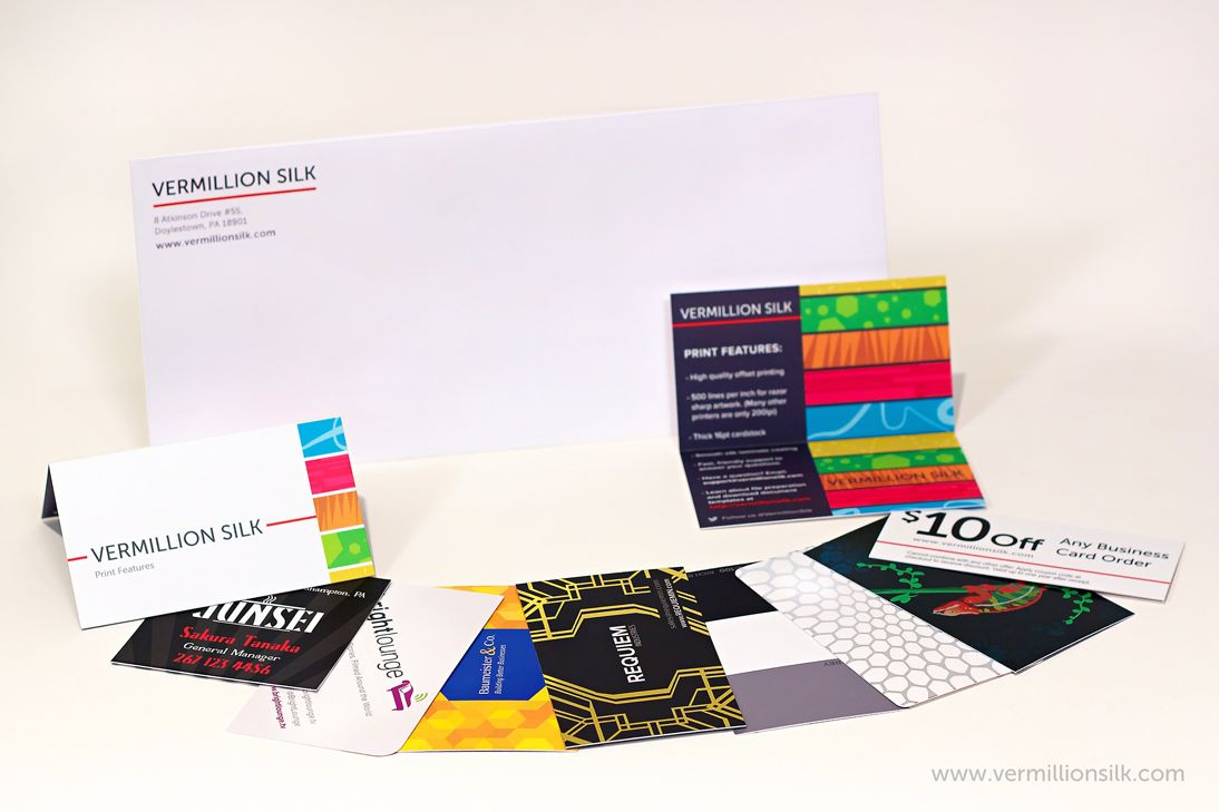 The Vermillion Silk Sample Pack. Beautiful silk business card ...