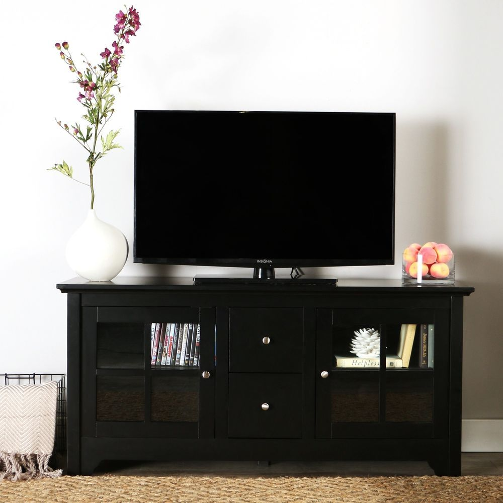 Black Tv Stand W Storage Shelves N Drawer Entertainment Unit 52 Inch Tv Table Walkeredison Conte Solid Wood Tv