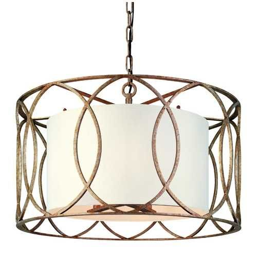 Troy Lighting Five Light Wrought Iron Chandelier With Center Drum