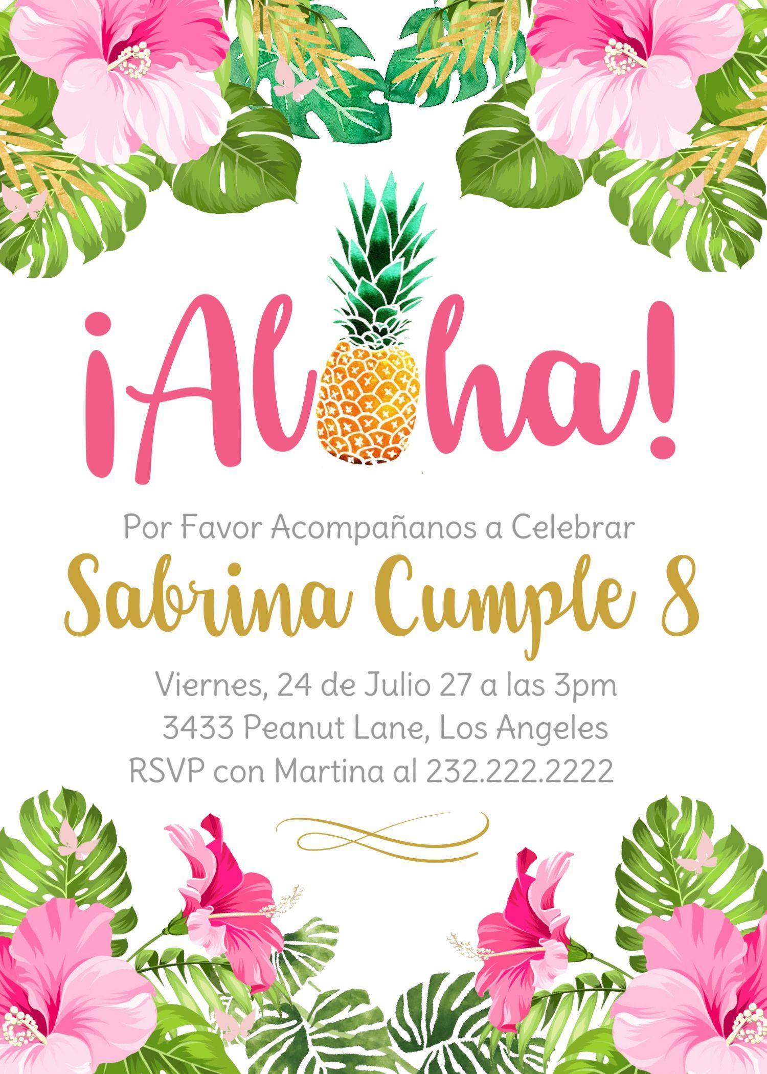 feliz cumpleaños invitacion cumpleanos niña aloha hawaii flores