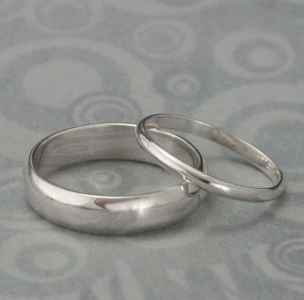 The Perfect Pair  Set Of Two Plain Jane Sterling Silver Wedding Rings  Silver  Wedding Ring Set Custom Made For YOU. $55.00, Via Etsy.