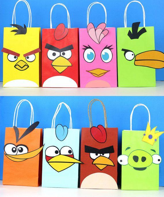 Angry Birds Favor Bag Instant Download 8 Different Birds Angry Birds Party Bird Birthday Parties Angry Birds Stella