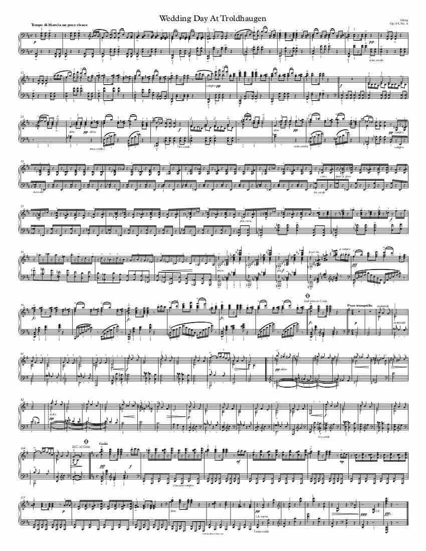 Free Piano Sheet Music Wedding Day At Troldhaugen Op 65 No 6 Grieg Enjoy 1 Page Version Piano Sheet Music Free Sheet Music Wedding Piano Sheet Music