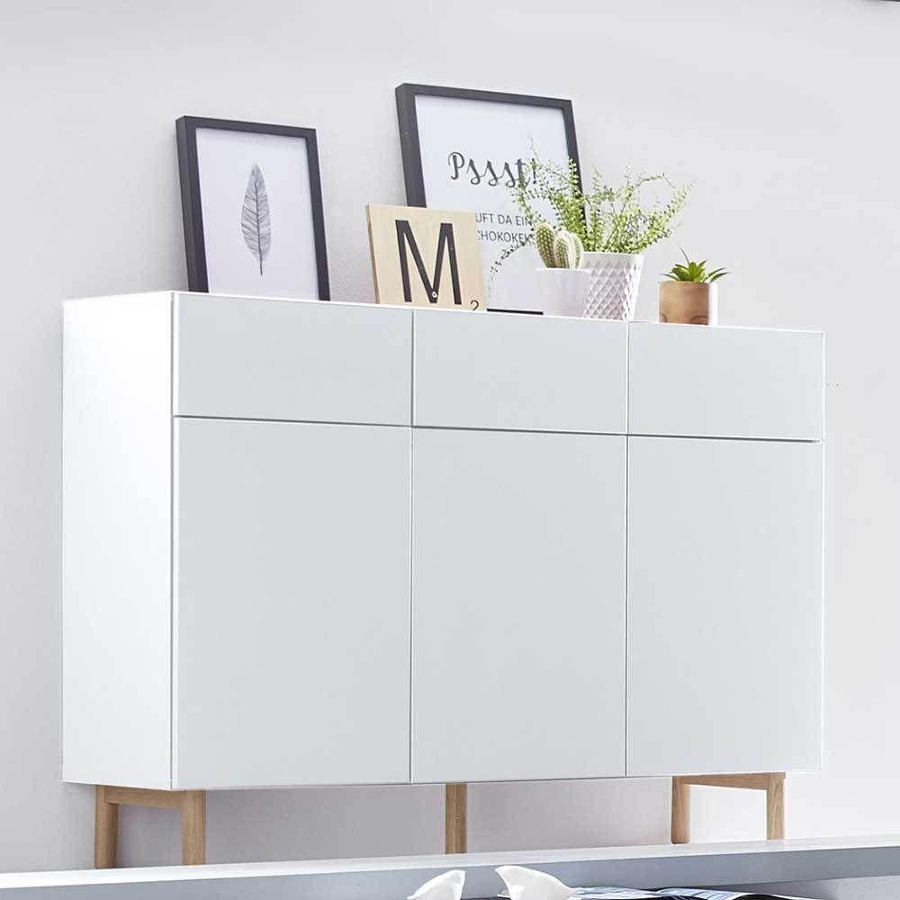 wohnzimmer sideboard in weiß grifflos - moebel-liebe