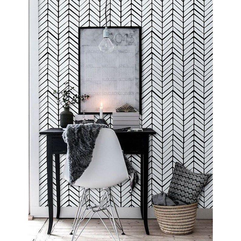 Chevron Wallpaper Nursery Wallpaper Removable Wallpaper Etsy In 2021 Black Chevron Wallpaper Herringbone Wallpaper Vinyl Wallpaper