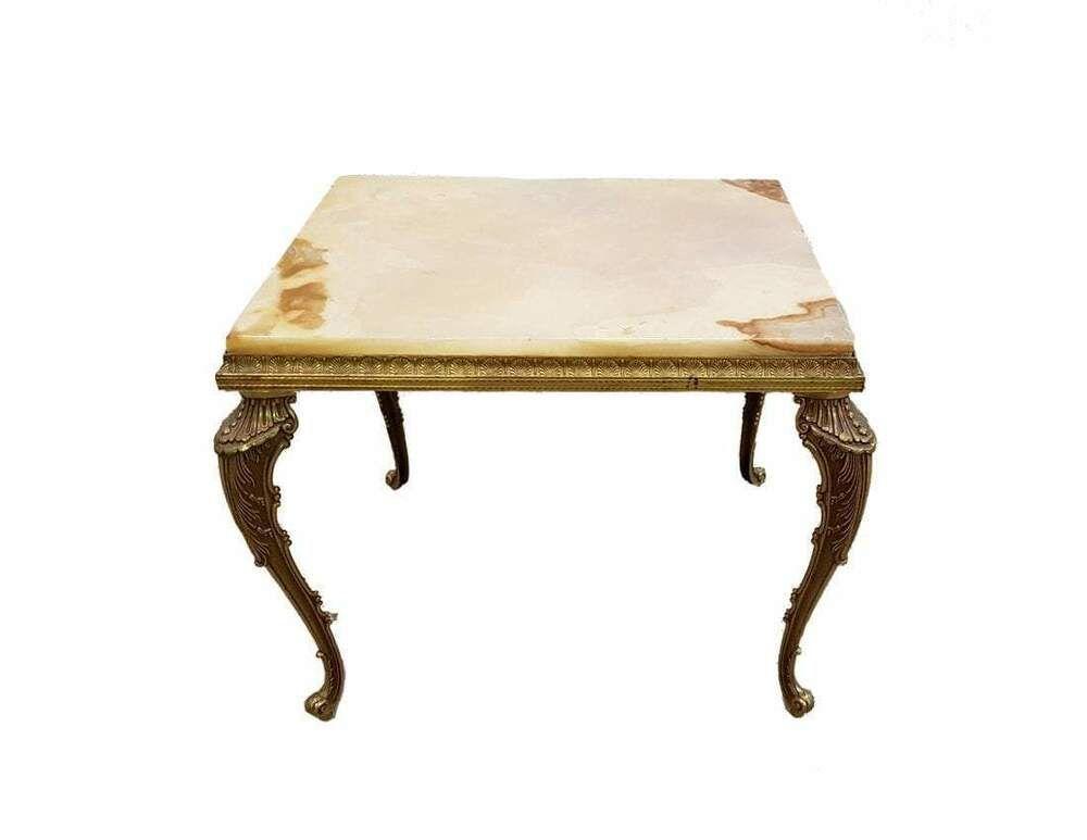 Vintage Mahogany Drop Leaf Coffee Table Leather Top Paw Feet