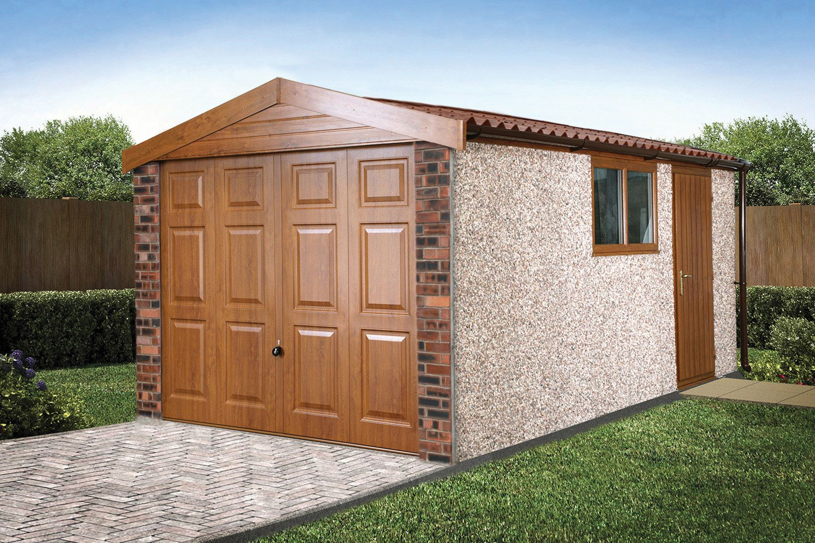 Best Apex Deco Deluxe Concrete Garage In Golden Oak Prefab 400 x 300