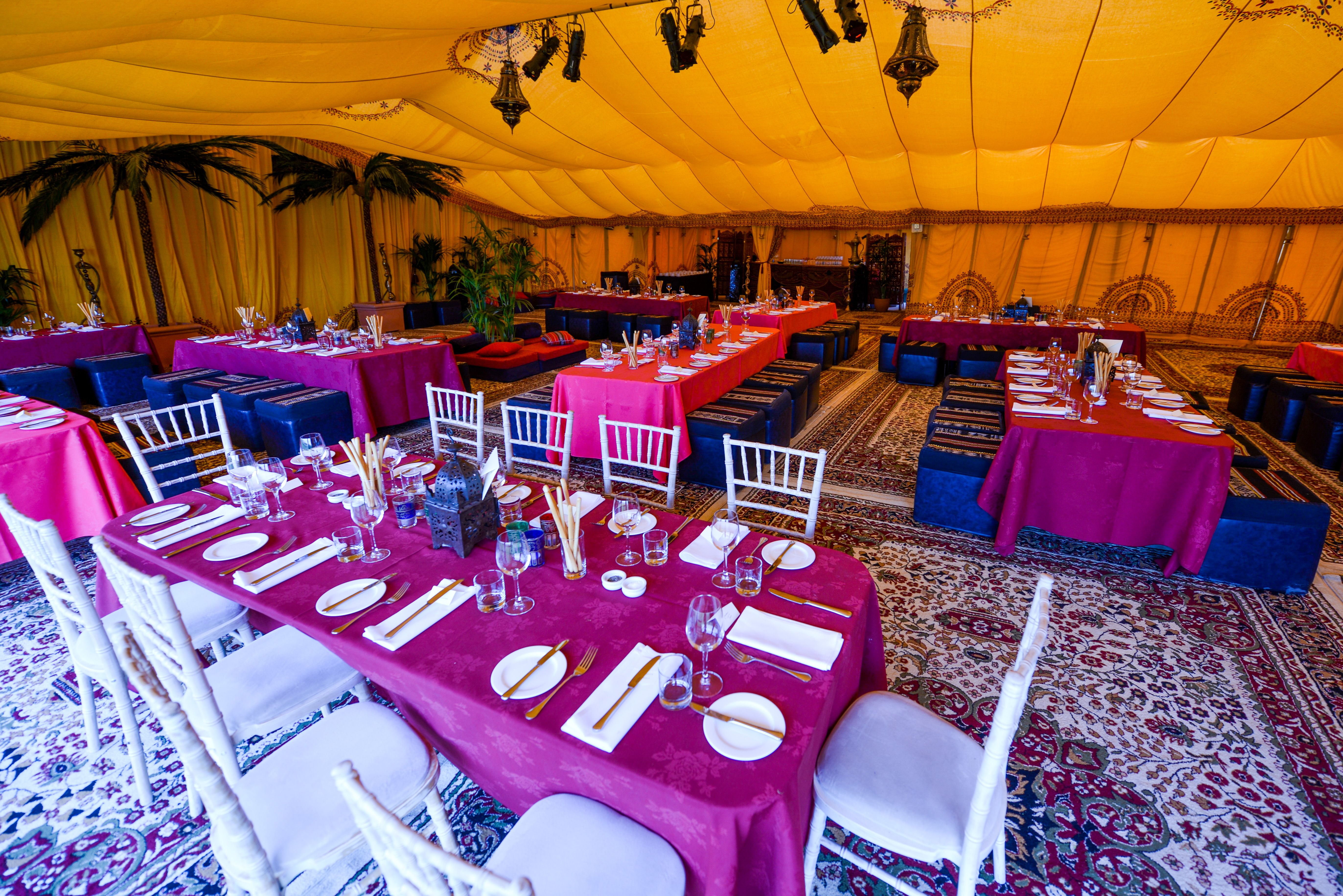 Vibrant Moroccan Themed Interior Of A Marquee For A Unique Birthday