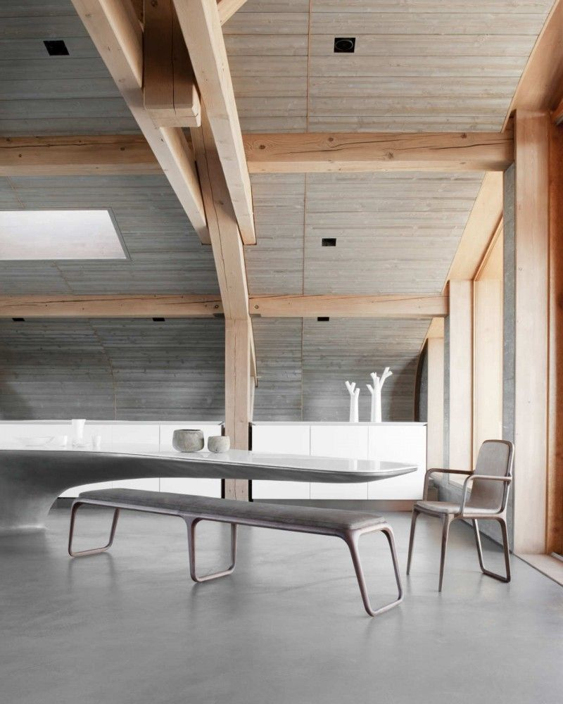 """Chalet Beranger / Noé Duchaufour-Lawrance - Too """"driftwood space station"""" for me, but maybe with blonde wood flooring it would be more balanced."""