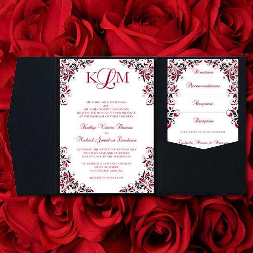 Red And Black Wedding Invitations Kaitlyn Apple Red Black Pocket