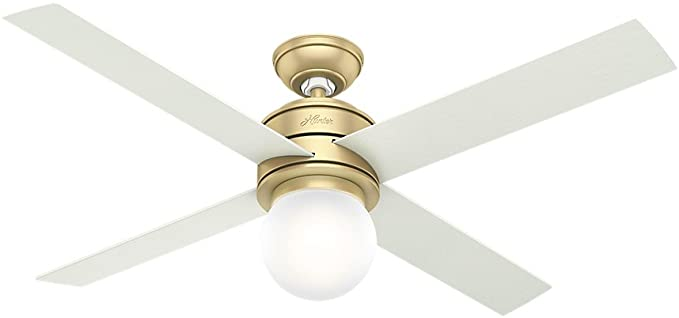 Hunter Indoor Ceiling Fan With Led Light And Wall Control Hepburn 52 Inch Modern Brass 59320 Amazon Com In 2020 Ceiling Fan Brass Ceiling Fan Fan Light
