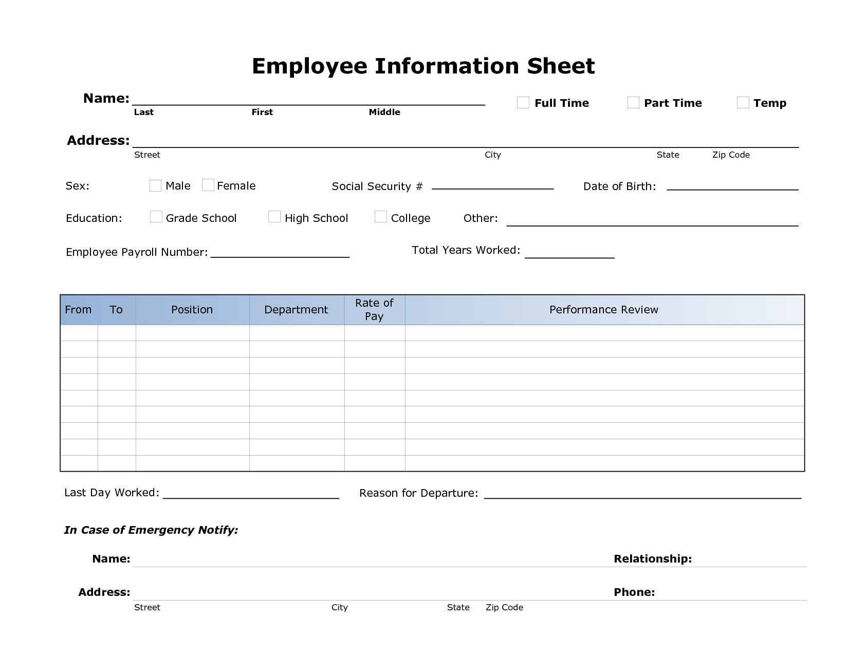 Employee Information Sheet Template