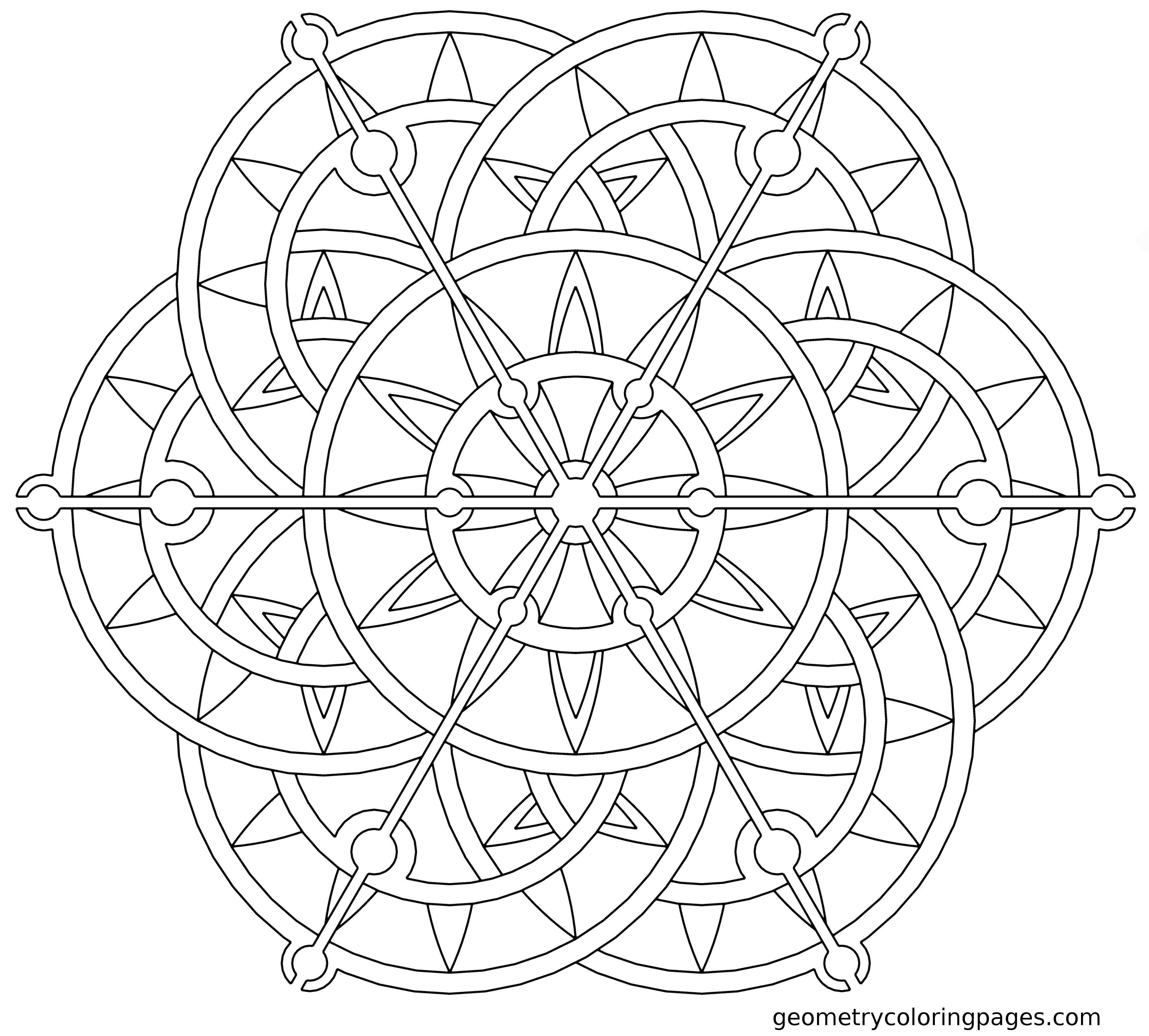 Mandala Coloring Page Steampunk Lotus from