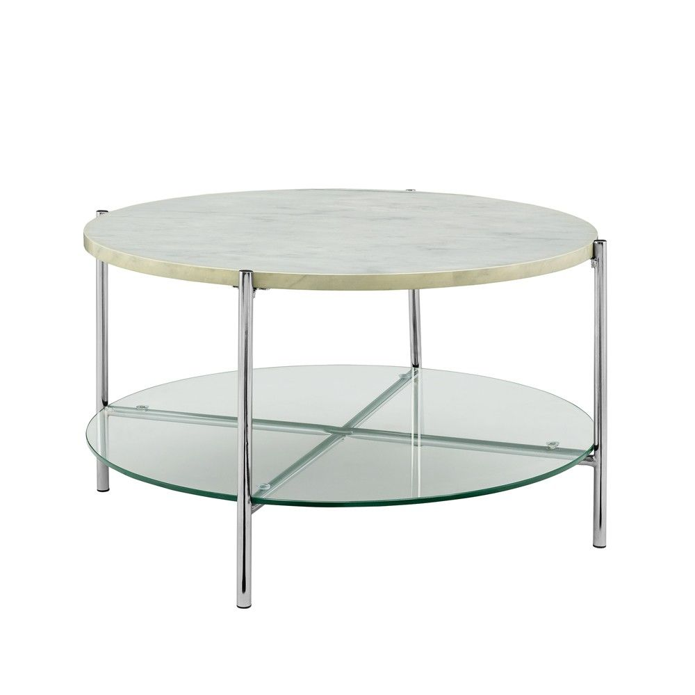 Round Modern Glam Coffee Table White Silver Saracina Home Round Coffee Table Modern Glam Coffee Table Coffee Table [ 1000 x 1000 Pixel ]