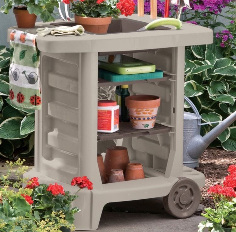 Small Potting Bench Cart Mobile Portable Garden With Big Wheels Tool Storage Portable Garden Garden Tool Storage Garden Cart