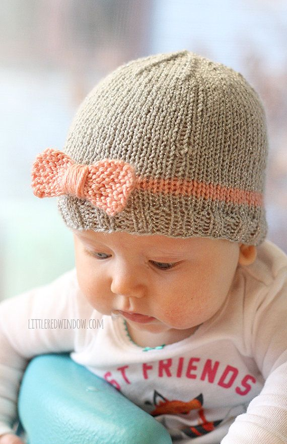 Knit Bow Baby Hat KNITTING PATTERN / Newborn baby bow hat / Beanie ...