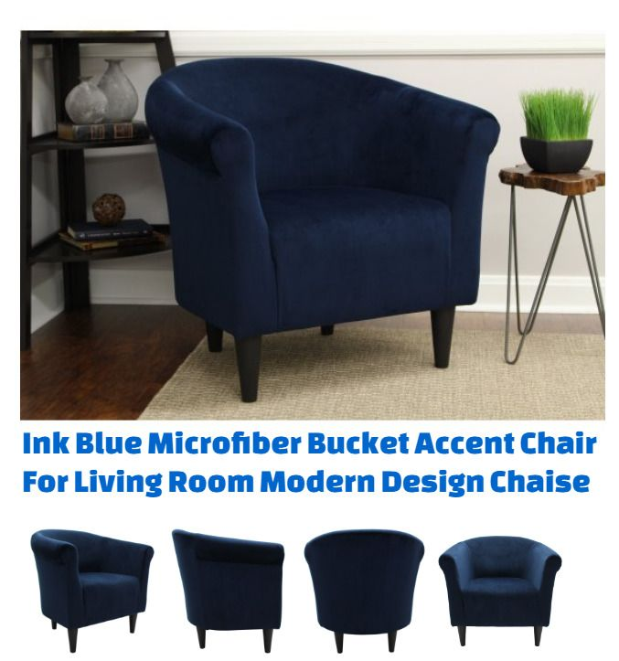 Brilliant Ink Blue Microfiber Bucket Accent Chair For Living Room Ncnpc Chair Design For Home Ncnpcorg