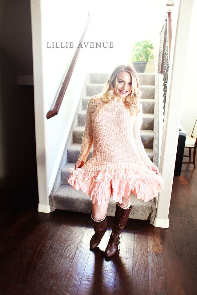 Peach Lace and Knitted Sweater