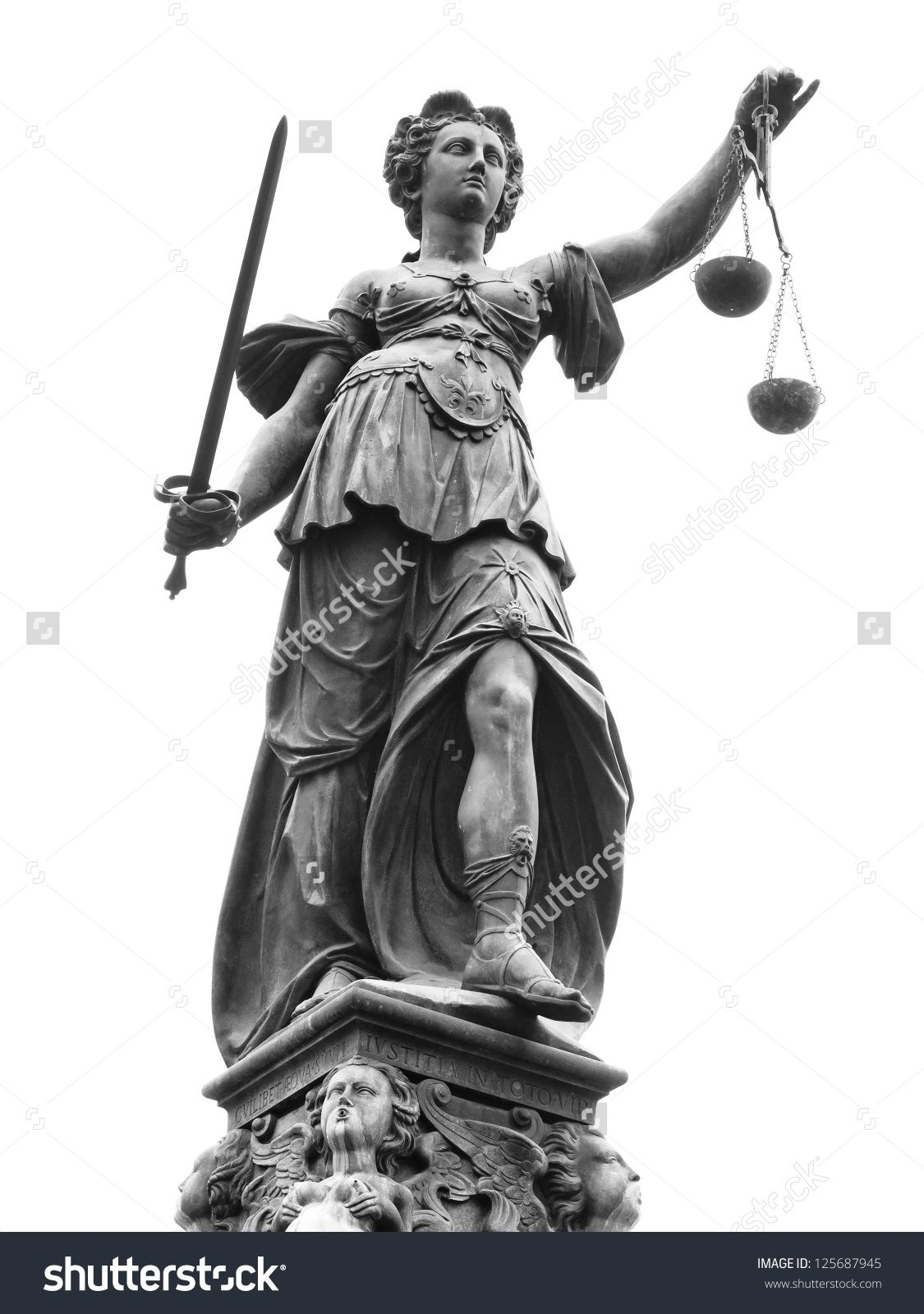Statue Of Lady Justice Justitia In Frankfurt Germany Isolated On White Stock Photo 125687945 Shutterstock Lady Justice Statue Justitia