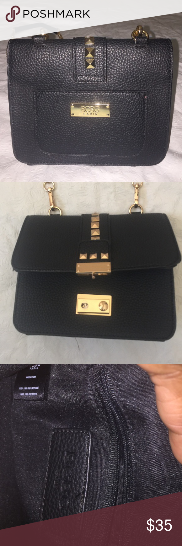 BCBG Paris black & Gold Crossbody Bag Sold As is Missing a front Closure button (See Pictures) beautiful Bag otherwise! BCBG Bags Crossbody Bags