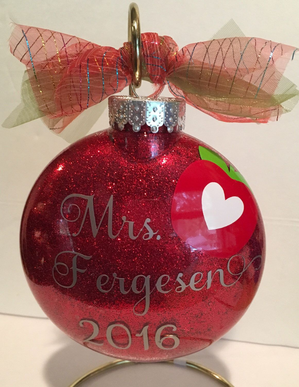 Personalized glitter teacher ornament | Teacher ornaments ...