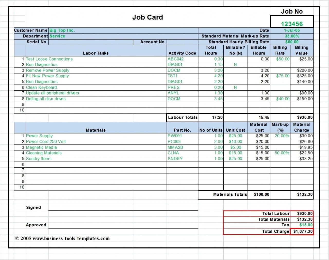 Workshop Job Card Labor Amp Material Cost Estimator