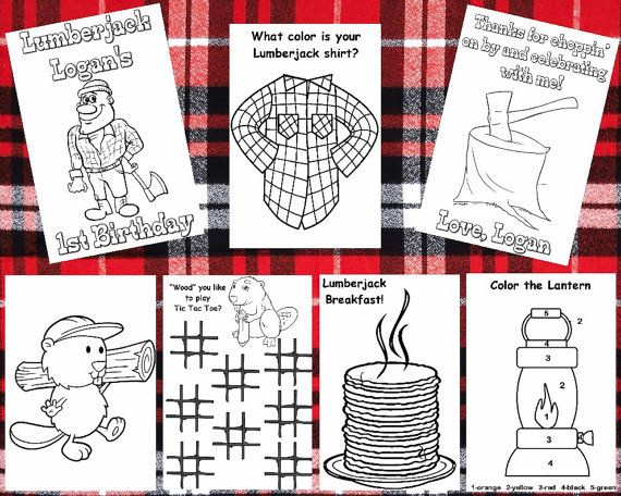 Customized Lumberjack Party Favor Coloring Books Sent By Email Etsy Lumberjack Party Book Party Coloring Books